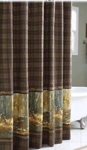 New Bass PRo Shop Whitetail  Birch Plaid Fabric Shower Curtain Doe Buck
