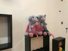 couple souris vintage peluche decorative environ 40 cm fait main au crochet.