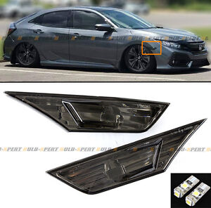 FOR 2016-19 HONDA CIVIC JDM SMOKE TINTED LENS SIDE MARKER LAMP LIGHT W/ LED BULB