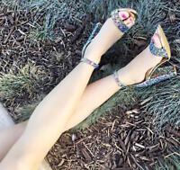 NEW Royal Blue Alba Milly T-Strap Swirl Suede Platform Open toe Sandals 5.5-10