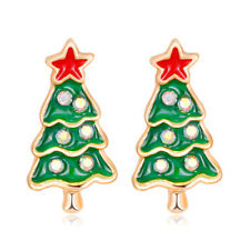 Christmas Tree Red Star Rhinestone Gold Plated Woman Earring Holiday Celebration