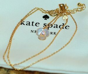Kate Spade NY DISCO PANSY MOTHER OF PEARL PETAL NECKLACE SHELL FLOWER TINY
