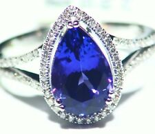 2.34CT 14K Gold Natural Tanzanite Diamond Vintage AAA Art Deco Engagement Ring
