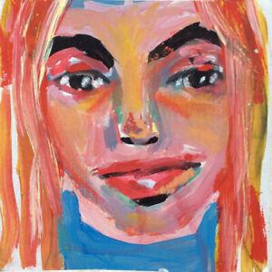 Mini Outsider Art Portrait Painting Katie Jeanne Wood