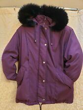 Bromley Sport Thermolite Women's Sz PS Plum Raccoon Fur Hooded Coat Jacket