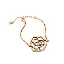 Bracelet Doré Art Deco Fleur Rose Filigrane Fin Vintage Retro CT7
