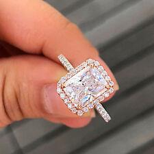 14K ROSE GOLD RADIANT SIMULATED DIAMOND ENGAGEMENT RING BRIDAL HALO PRONG 3.50