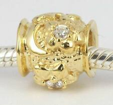 3 GRAMS SOLID 9CT YELLOW GOLD Cz Flower Moon Star BEAD For Charm Bracelet /Chain