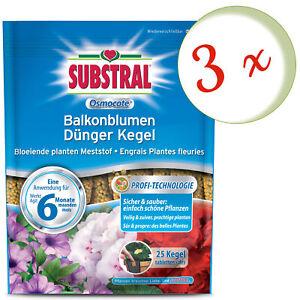 Sparset: 3 x SUBSTRAL® Osmocote Balkonblumen Dünger Kegel, 25 Stück