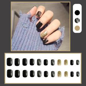 Full Cover Cat Eye Glitter False Nails Matte Nail Art Tips Press On Nails