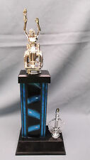 female wheelchair silver trophy award blue column black base