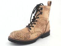 JOHN FLUEVOG Living Blake Combat Boots Tan Floral Angel Soles Women's US 7 /37.5