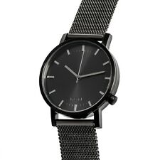 Black Minimalist Watch for Men Swiss Quartz Stainless Steel Nixon/Komono Style