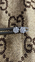 10K White Gold Mens 4mm Genuine Diamonds SI Flower Stud Cluster Earrings