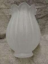 "Frosted Tulip Electric Shade 2 1/4"" Glass Globe Fan Fixture Refurbish Rib Look"