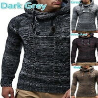 Fashion Mensers Casual Slim Fit Knitted Hooded Sweaters Warm Pullover Tops