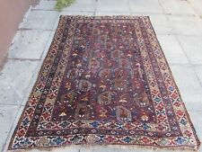 Antique Worn Traditional Hand Made Oriental Red Blue Wool Rug 196x145cm