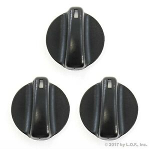 3) Fits Chevy GEO Prizm 93-97 Heater Temperature Control Knobs Black Replacement