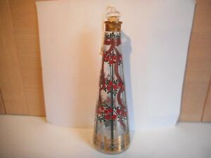 UNUSUAL RED ROSES AND RIBBON CHRISTMAS ADVENT OIL CANDLE GLASS BOTTLE