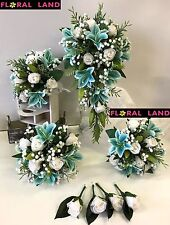 SILK WEDDING BOUQUET TEAL LILY WHITE GYP DUSTY GREEN TEARDROP FLOWERS SET