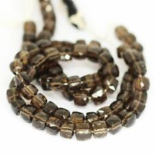 Brown Smoky Quartz Faceted Square Box Gemstone Beads Strand 6mm 7mm 10""