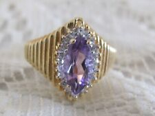 H2 Vintage 14k Yellow Gold Amethyst & Diamond Ring Size 6
