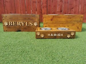 Bespoke reclaimed wooden, personalised pet feeding station