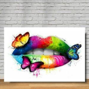 Butterfly lips Urban  Street Art Printed Deep Framed Box Canvas. Various sizes