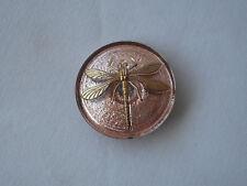 Czech Glass Button, 31mm diameter, Gold Dragonfly on peach glass, Item 299