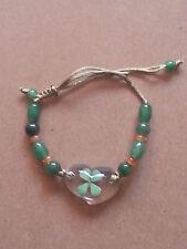 REAL 4 Leaf Clover Beaded Heart Bracelet Shamrock
