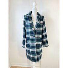 NWT Rachel Zoe Women's Tartan Plaid Overcoat Size Medium White Navy Blue Green
