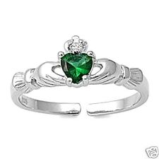 Adjustable Claddagh Toe Rings Sterling Silver 925 Beach Jewelry Gift Emerald