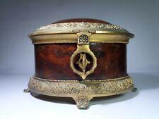 Vintage Louis XVI style Walnut and Gilt metal Jewel Casket with key