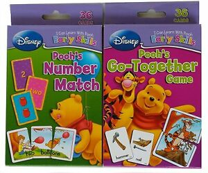 Lot (2) Disney Winnie the Pooh Learning Flash Cards Go-Together & Number Match