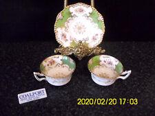 Antique Green Coalport Batwing Y2665 2 Cup & 1 Saucer Gold Gilt Demitasse China