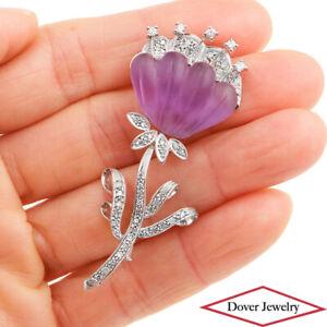 Estate Diamond 8.65ct Amethyst 18K Gold Flower Brooch Pin 10.4 Grams NR