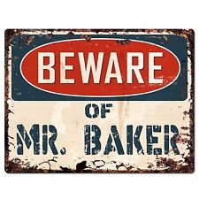 PP0634 Vintage Beware of Mr. Baker Plate Chic Sign Home Room Store Decor Gift