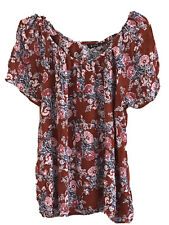 Evans blouse top plus size 14-32 rust grey floral short sleeve button detailing