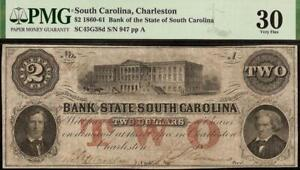 1861 $2 DOLLAR SOUTH CAROLINA BANK NOTE LARGE CURRENCY MONEY CIVIL WAR PMG 30
