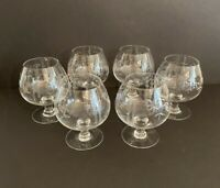 Vintage Etched Clear Crystal Brandy Snifters Bamboo Pattern Mid Century Modern