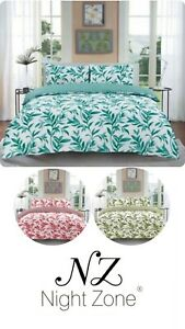 Ellie Leaf Printed Floral Reversible Duvet Cover Set With Pillowcases All size