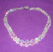 VINTAGE 1940/50s MADE BY EXQUISITE DOUBLE GRADUATED AB CRYSTAL NECKLACE