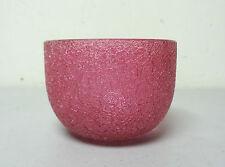 UNUSUAL ANTIQUE BOHEMIAN ART GLASS FINGER BOWL, CRANBERRY CRAQUELLE / OVERSHOT