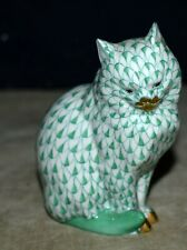 HEREND HUNGARY GREEN FISHNET PERSIAN CAT, PORCELAIN FIGURINE W/24KT GOLD