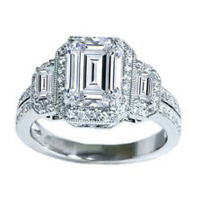 Platinum Emerald Cut 3.50 Carat Diamond Engagement Ring GIA Certified