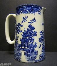 1 Pint Milk Jug Willow Pattern By Heron Cross Pottery England