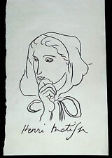 Henri Matisse rough charcoil study 'Woman with a hood' - Signed original - COA