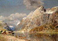 Oil painting stunning landscape fishermem's canoes and house by river & mountain