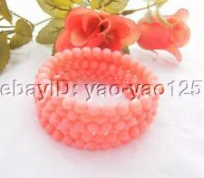 Round Pink Coral Bangle Bracelet