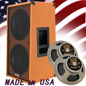 2x12 Vertical Guitar Speaker Cabinet Orange Tolex W/Celestion Vintage 30 Spkrs